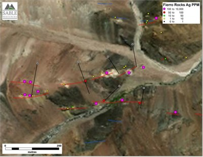 Figure 2. Proposed drill hole locations for El Fierro Alto (CNW Group/Sable Resources Ltd.)