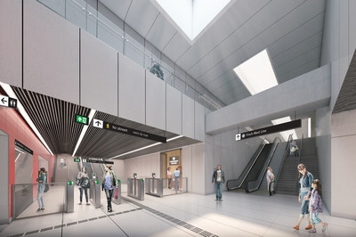 In Toronto, Otis is providing five Gen2 elevators and four NPE escalators to Toronto's 18-stop Line 6 Finch West Light Rail Transit. Shown here is the Finch West station lower concourse area. Rendering provided by Mosaic Group.