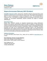 Keyera Announces February 2021 Dividend (CNW Group/Keyera Corp.)