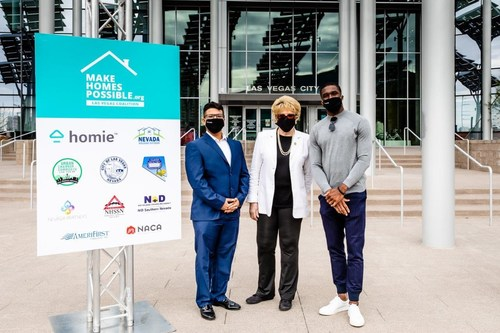 Elias Benjelloun, head of Homie Helps Las Vegas with Las Vegas Mayor Carolyn Goodman and professional football player Nelson Agholor join with other community leaders to announce the creation of the Coalition to Make Homes Possible to help close the Black homeownership gap in Southern Nevada