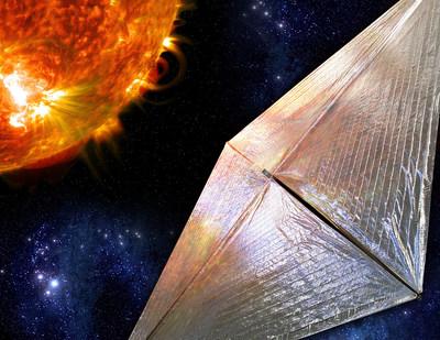 Artist rendering of solar sail that will propel NASA Solar Cruiser mission. Credit: NASA/Marshall Space Flight Center