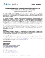 Inter Pipeline Provides Statement on Brookfield Infrastructure Partners' Intention to Make Unsolicited Bid (CNW Group/Inter Pipeline Ltd.)