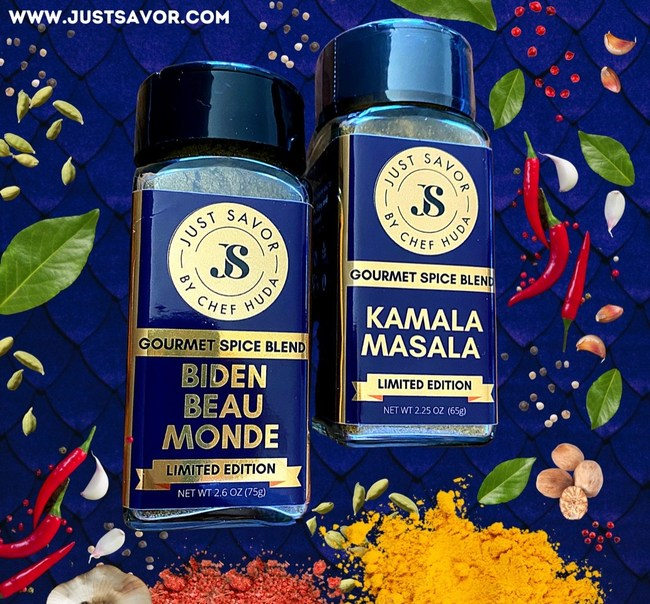 """Biden Beau Monde"" and ""Kamala Masala"" Just Savor Limited Edition Spices www.justsavor.com"