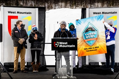 West Mountain's Sara and Spencer Montgomery together with professional football running back Devin Singletary announced today the first annual Tuber Bowl Championship coming to the ski area. The event will take place next year on February 5, 2022 (photo credit: West Mountain).