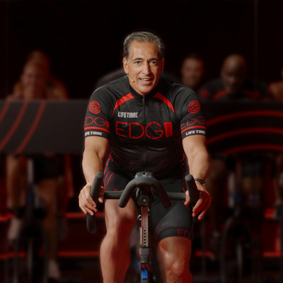 Bahram Akradi, Life Time Founder and CEO, leads an EDG Cycle class.