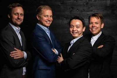 Founders: From left to right: Dr. Jan Goetz, CEO, Co-founder of IQM, Prof. Mikko Möttönen, Chief scientist, Co-founder of IQM, Dr. Kuan Yen Tan, CTO, Co-founder of IQM, Dr. Juha Vartiainen, COO, Co-founder of IQM