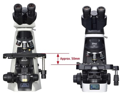Comparison of the stage height: Conventional microscope (ECLIPSE E200; left) and ECLIPSE Si (right)