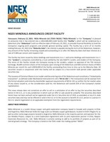 NGEx Minerals Announces Credit Facility (CNW Group/NGEx Minerals Ltd.)