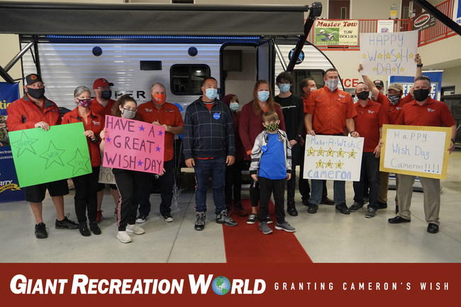 Giant Recreation World Donates Camper to Make a 9-Year-Old's Wish Come True. www.giantrecreationworld.com