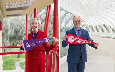 Dr. Anne B. Kerr, president of Florida Southern College, and Randy K. Avent, president of Florida Polytechnic University, celebrate the exclusive new partnership that expands FSC's 4+1 MBA Program to offer a direct and affordable path from an undergraduate degree at Florida Poly to a master's degree at FSC. (Photo by Jordan Weiland)
