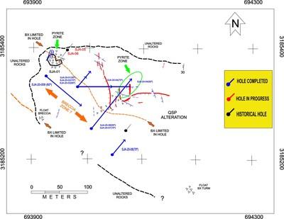 Figure # 1 – Location Map of Diamond Drill Holes and Geological Interpretation (CNW Group/Tarachi Gold Corp.)