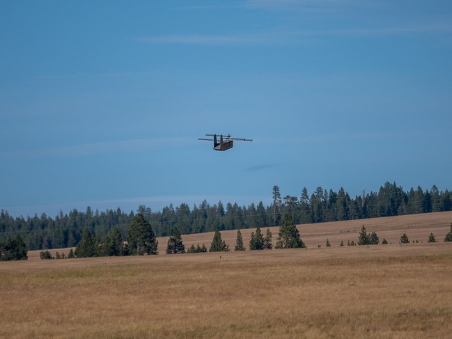 A Silent Arrow GD-2000 Autonomous Cargo Delivery UAS Uses Onboard LiDAR to Initiate the Landing Flare Sequence During an Air Force Demonstration Flight, Pendleton Oregon.