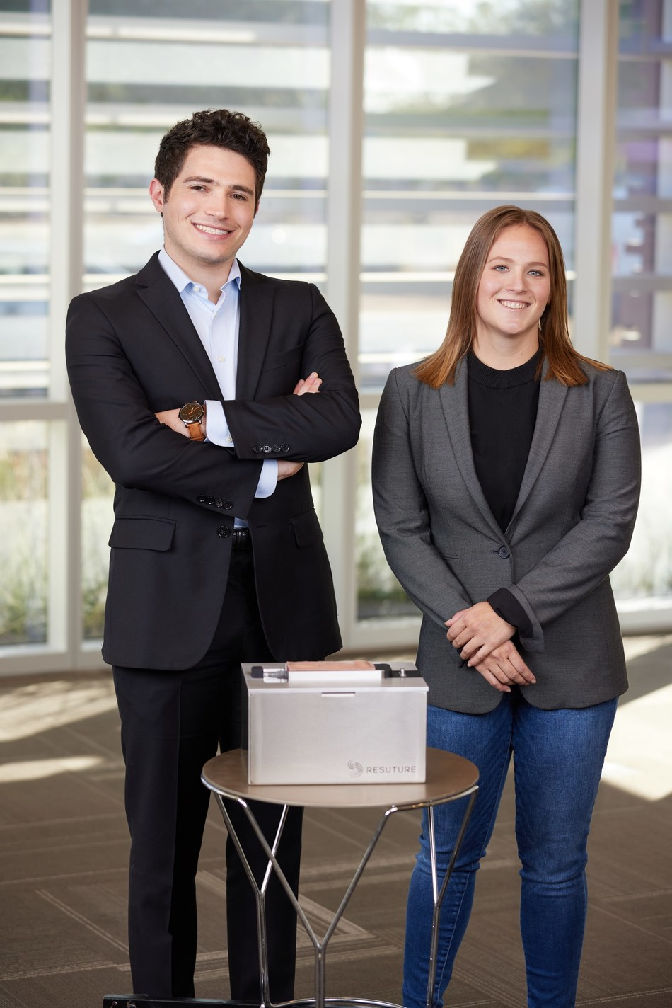 Ben Knapp and Hannah Eherenfeldt photographed with the ReSuture Open Vascular Training System