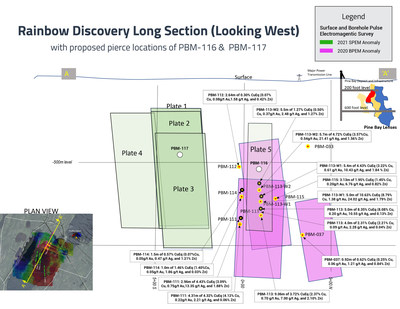 Rainbow Discovery Long Section - February 2021 (CNW Group/Callinex Mines Inc.)