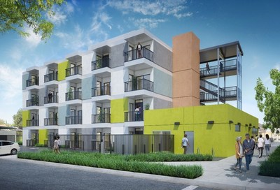 Rendering of the new 40-unit permanent supportive housing project in South Los Angeles.