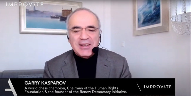 Garry Kasparov at IMPROVATE Cybersecurity Conference (Photo credit: Guy Waxman)