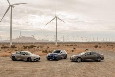 Maserati V6 collection 2021 - left to right - Ghibli, Levante and Quattroporte