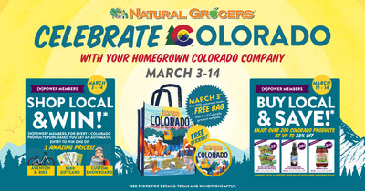 "Natural Grocers will 'Celebrate Colorado' with its home state communities from March 3-14. Kicking off on ""303 Day,"" customers at all 41 Colorado stores will enjoy Colorado-themed freebies, deep discounts on local brands, and Shop & Win, a chance to win prizes such as a custom snowboard, an e-bike, or a $500 Natural Grocers gift card by purchasing selections from over 2,500 Colorado-made products. (PRNewsfoto/Natural Grocers by Vitamin Cottage, Inc.)"