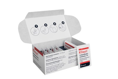 Klisyri® (tirbanibulin) is supplied in boxes of 5 single-use sachets and is applied to the treatment area once daily for 5 days.