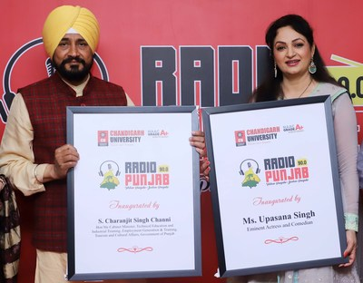 """Charanjit Singh Channi, Minister for Technical Education, Tourism & Cultural Affairs, Government of Punjab and Upasana Singh, Bollywood Actress and Comedian inaugurating Mohali's first community radio """"Radio Punjab"""" at the campus of Chandigarh University"""