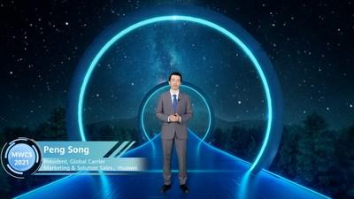 "Peng Song fez o discurso de abertura intitulado ""NetX 2025: o caminho para as redes futuras"". (PRNewsfoto/Huawei)"