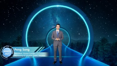 """Peng Song delivered a keynote speech titled """"NetX 2025: The Path to Future Networks"""" (PRNewsfoto/Huawei)"""