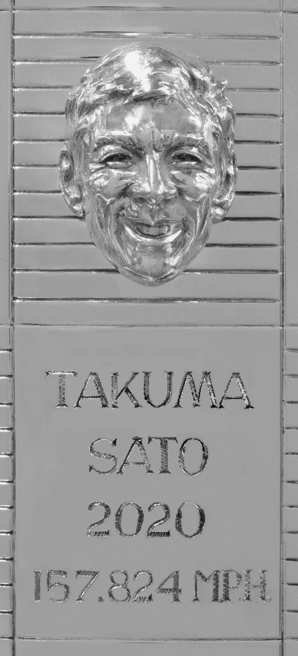 Takuma Sato's likeness is added for the second time to the Borg-Warner Trophy®