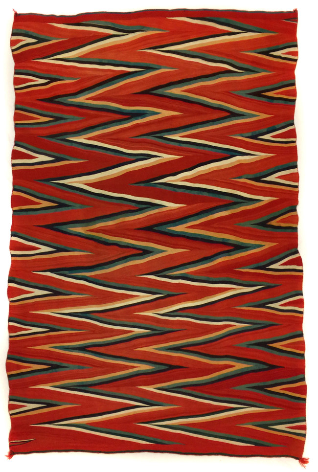 On offer from Mark Sublette of the Medicine Man Gallery. This is a rare Navajo wedge weave blanket with raveled and Germantown yarns that has never before been on offer to the public. This blanket is 85.5 inches by 56.5 inches, and was made circa 1875-1885.