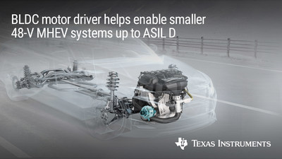 TI's motor driver helps enable MHEV systems requiring functional safety up to ASIL D and achieves the industry's highest gate-drive current