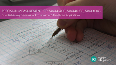 Precision measurement ICs from Maxim Integrated Products, MAX41400, MAX40108 and MAX31343, are part of the Essential Analog ICs for healthcare, industrial and IoT applications