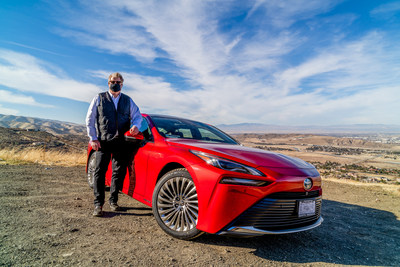 Green energy project developer Lex Heslin surveys Antelope Valley with his new generation hydrogen-powered Toyota.