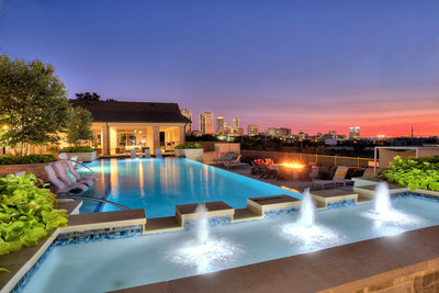 View of the Fort Worth skyline from the resort-style pool