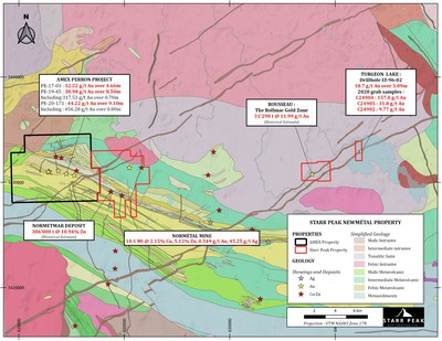 Figure 1: Geological Map of the NewMétal property with respect to Amex Exploration's Perron Project. (CNW Group/Starr Peak Exploration Ltd.)