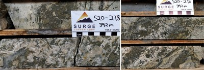 Figure 3. Core from Hole S20-218 around 392 metres depth. Pyrite rich veins and breccias associated with quartz, white clay, and containing low-grade gold mineralization.
