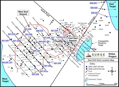 Figure 4. Plan map of drill hole locations for ongoing drill program at Ootsa.