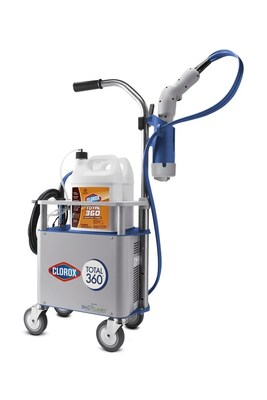 The Clorox® Total 360® System is an electrostatic sprayer that combines proven electrostatic technology with trusted Clorox® products to quickly and easily provide superior coverage in even the hardest-to-reach places.