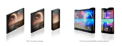 TCL trio-fold concept phone and 17-inch printed OLED scrolling display
