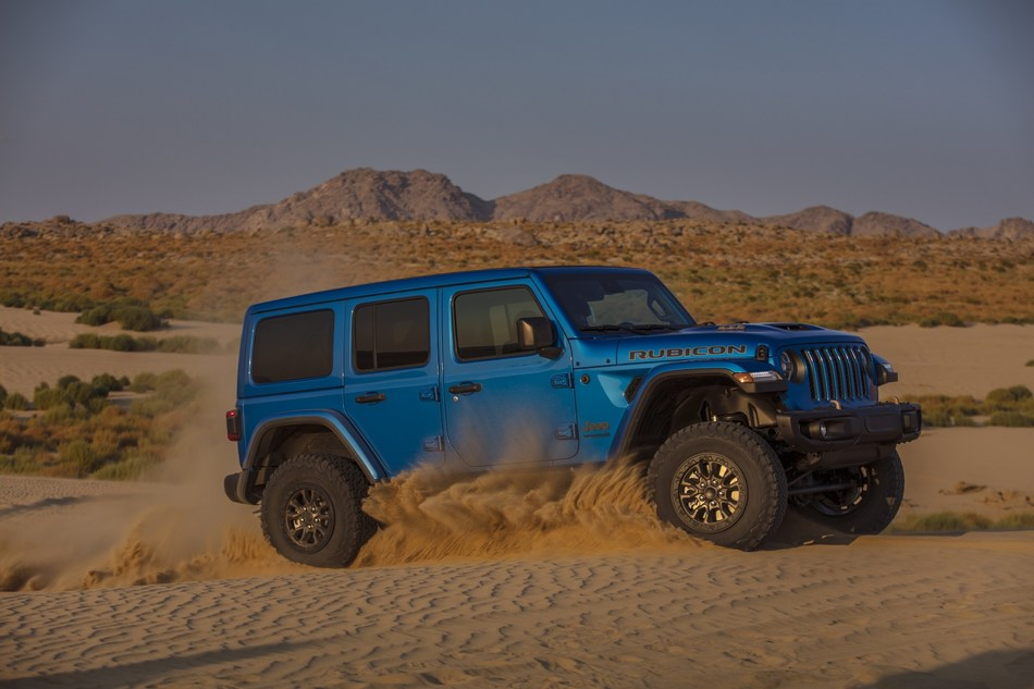 The 2021 Jeep® Wrangler Rubicon 392 launch edition, packed with 470 horsepower and 470 lb.-ft. of torque with a 6.4-liter (392-cubic-inch) V-8, carries a starting U.S. manufacturer's suggested retail price (MSRP) of $73,500 (excluding $1,495 destination).