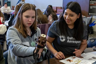 Image from the 2020 Introduce a Girl to Engineering Day event. This year we're going virtual! Photo courtesy: Collins Aerospace
