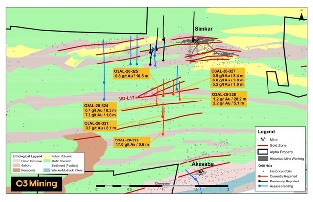Figure 2 : Carte de forage du secteur Simkar (Groupe CNW/O3 Mining Inc.)