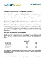 LUNDIN GOLD REPORTS FOURTH QUARTER AND FULL YEAR RESULTS (CNW Group/Lundin Gold Inc.)