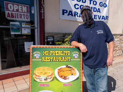 SBCC and InstaShield provided face shields for Mi Pueblito's re-opening of outdoor dining in Wilmington, CA. Shown here is owner Martin Padilla.