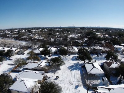 Aerial footage over San Antonio, Tex. during the historic February winter storm.
