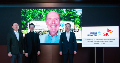 SK Group and Plug Power Inc. announced Thursday the close of SK's $1.6 billion investment in Plug Power to partner on accelerating hydrogen as an alternative energy source in Asia markets. Pictured here (from left to right) at the investment ceremony in Seoul, South Korea, are: Jeong-joon Yu, Vice Chairman & CEO of SK E&S; Hyeongwook Choo, CEO of SK E&S and Head of Hydrogen Business Development Center of SK Holdings; Andrew J. Marsh, CEO of Plug Power; and Dong-hyun Jang, CEO of SK Holdings.