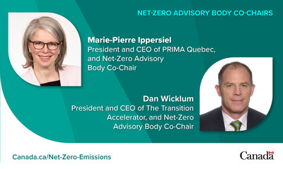 Net-Zero Advisory Body Co-Chairs, Marie-Pierre Ippersiel and Dan Wicklum (CNW Group/Environment and Climate Change Canada)