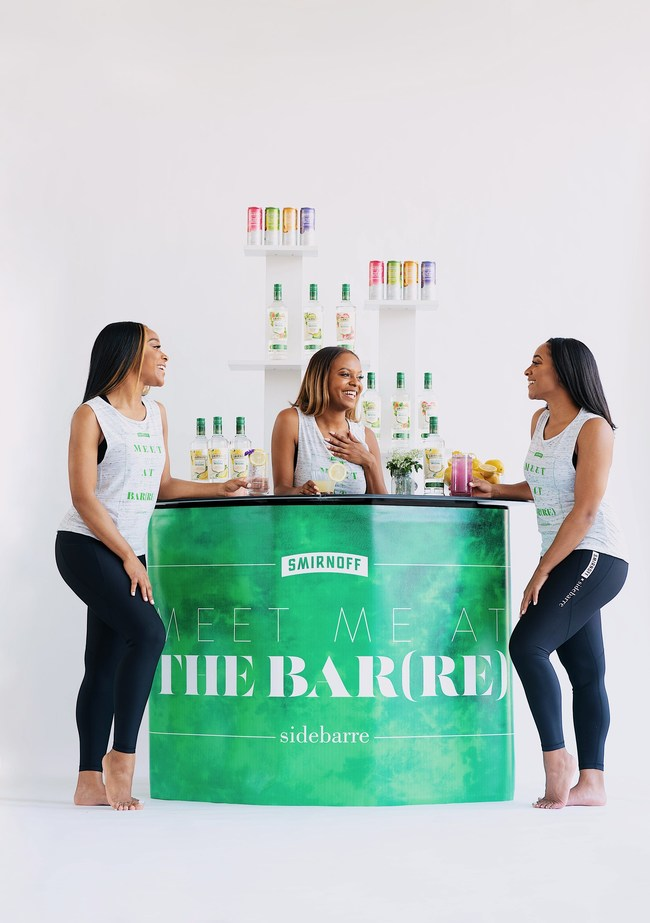 SideBarre Founder, Jillian Carter, and her two founding instructors Maya Dennis and Alexis Miller enjoy Smirnoff Zero Sugar Infusions cocktails (and a mocktail) at the Smirnoff bar.