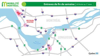 Carte générale des entraves, fin de semaine du 26 février (Groupe CNW/Ministère des Transports)
