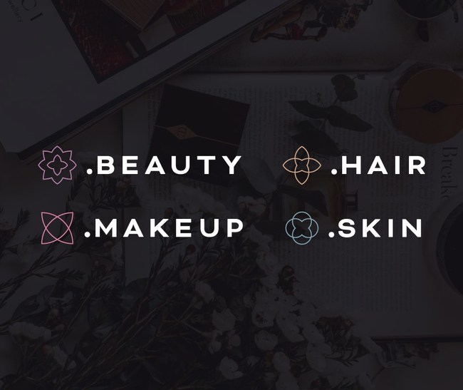 The .Beauty, .Hair, .Skin, and .Makeup logos.