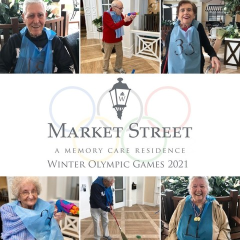 Residents of Market Street Memory Care East Lake enjoy the tradition and spirited competition of their 2nd Annual Winter Olympic Games.