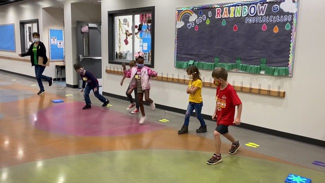 Students at Solomon Elementary School play a game with Unruly Splats.